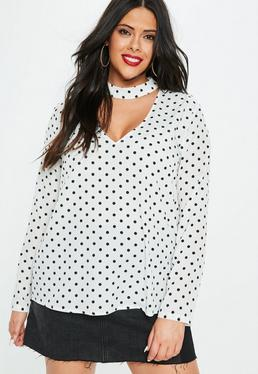 Plus Size Biała bluzka z chokerem
