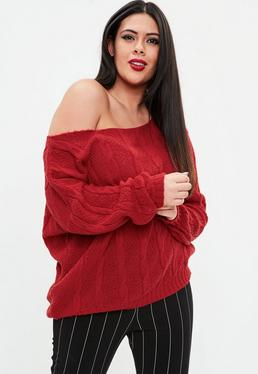 Curve Red Off Shoulders Knitted Jumper