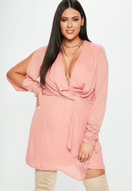 Curve Pink Twist Front Tie Cuff Dress
