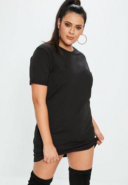 Plus Size Czarna sukienka T-shirt