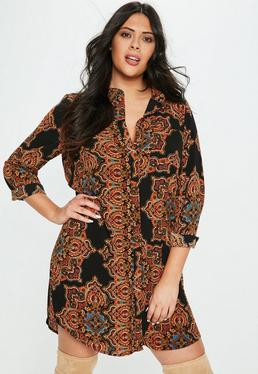 Curve Black Scarf Print Collarless Shirt Dress