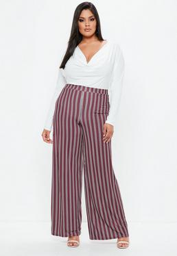 Curve Burgundy Striped Wide Leg Trousers