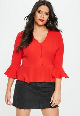Plus Size Czerwona bluzka z falbankami