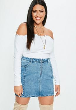 Curve White Lettuce Hem Ribbed Bardot Top