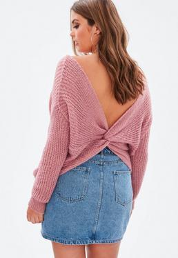 Curve Pink FLuffy Yarn Twist Back Jumper