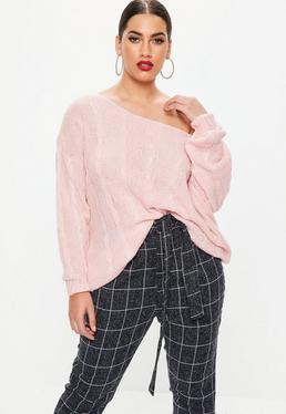 Curve Pink Off The Shoulder Cable Knitted Jumper