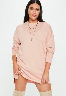Plus Size Różowa sukienka bluza