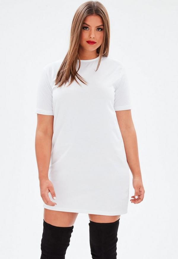Curve White Oversized T Shirt Dress by Missguided