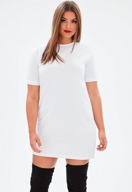 Plus Size Biała owersajzowa sukienka T-shirt