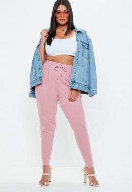 Plus Size Różowe spodnie dresowe