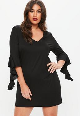 Curve Black Textured Frill Sleeve Dress