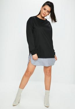 Curve Black Double Layer Sweat Dress