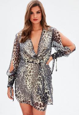 Curve Grey Leopard Twist Front Tie Cuff Dress