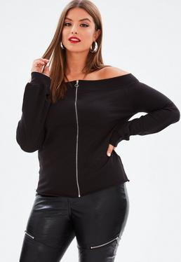 Curve Black Bardot Zip Front Raw Hem Sweatshirt