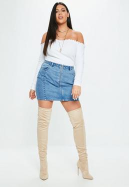 Curve Blue Exposed Zip Denim Skirt