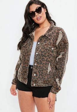 Curve Brown Leopard Print Denim Jacket