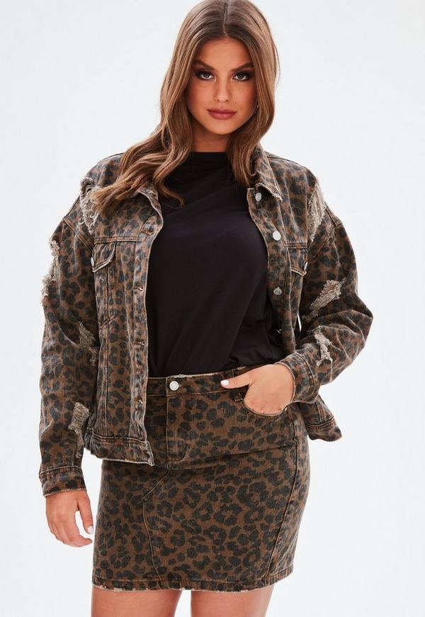 Curve Brown Leopard Print Denim Mini Skirt by Missguided