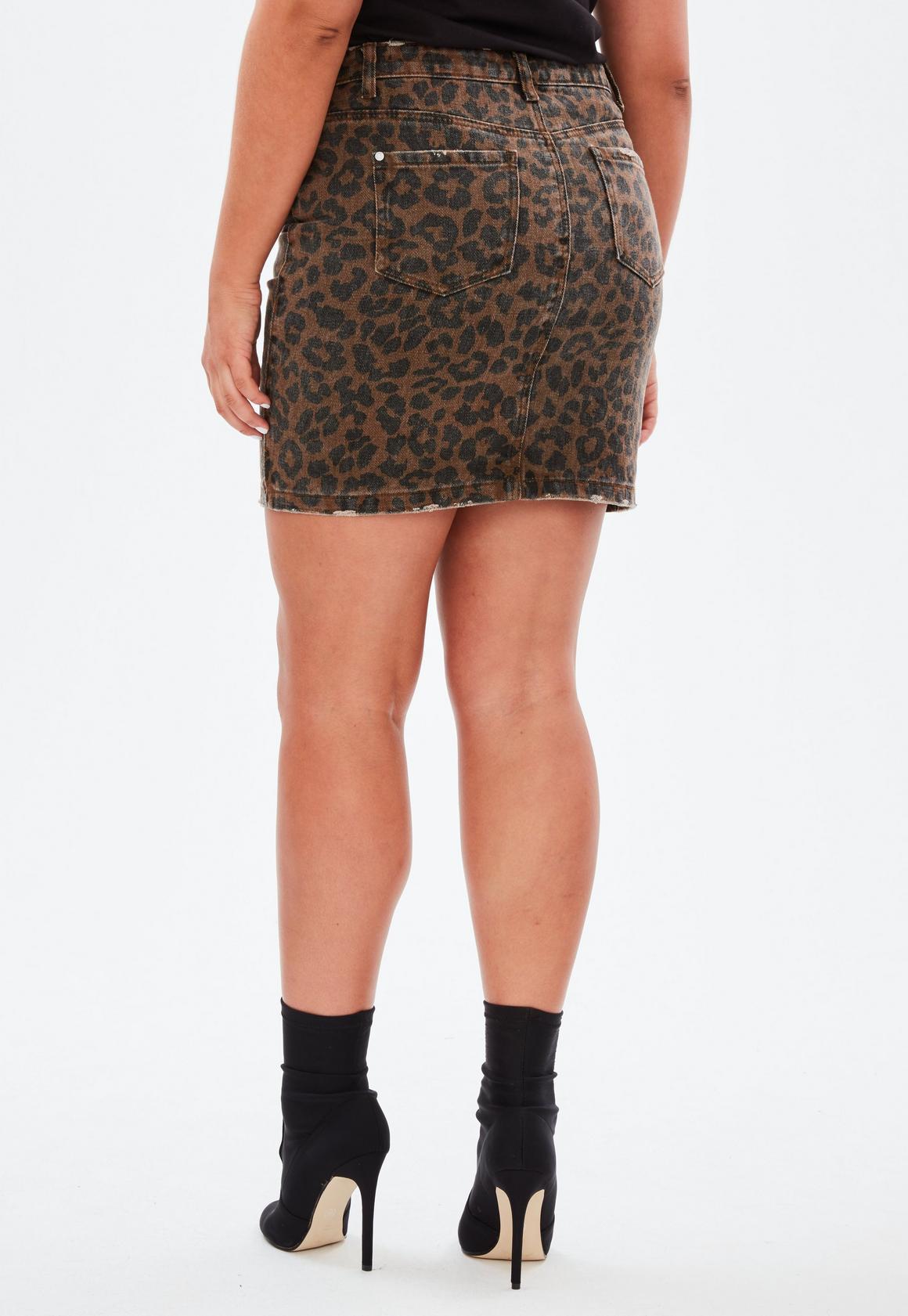 9a6ca8c3d4052 Missguided Curve Brown Leopard Print Denim Mini Skirt, Brown at £25 ...