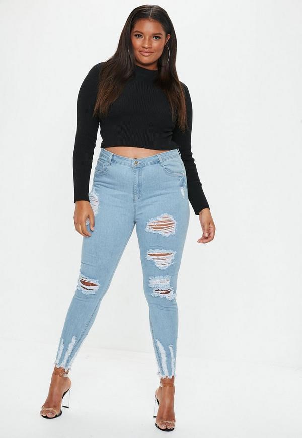 80fd36c68c1 Plus Size Blue Sinner Highwaisted Chew Hem Skinny Jeans