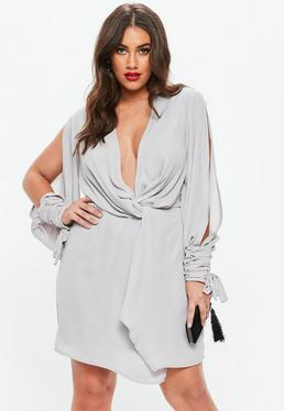 Curve Grey Twist Front Tie Cuff Dress