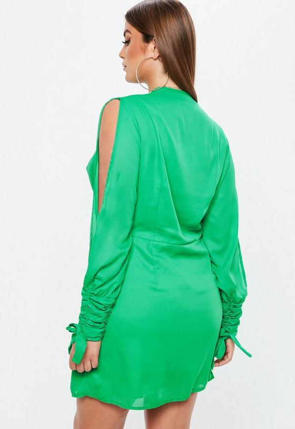 Plus Size Green Twist Front Tie Cuff Dress Missguided