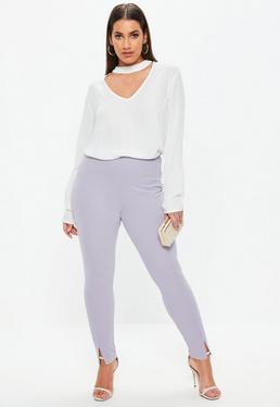Plus Size Liliowe spodnie cygaretki