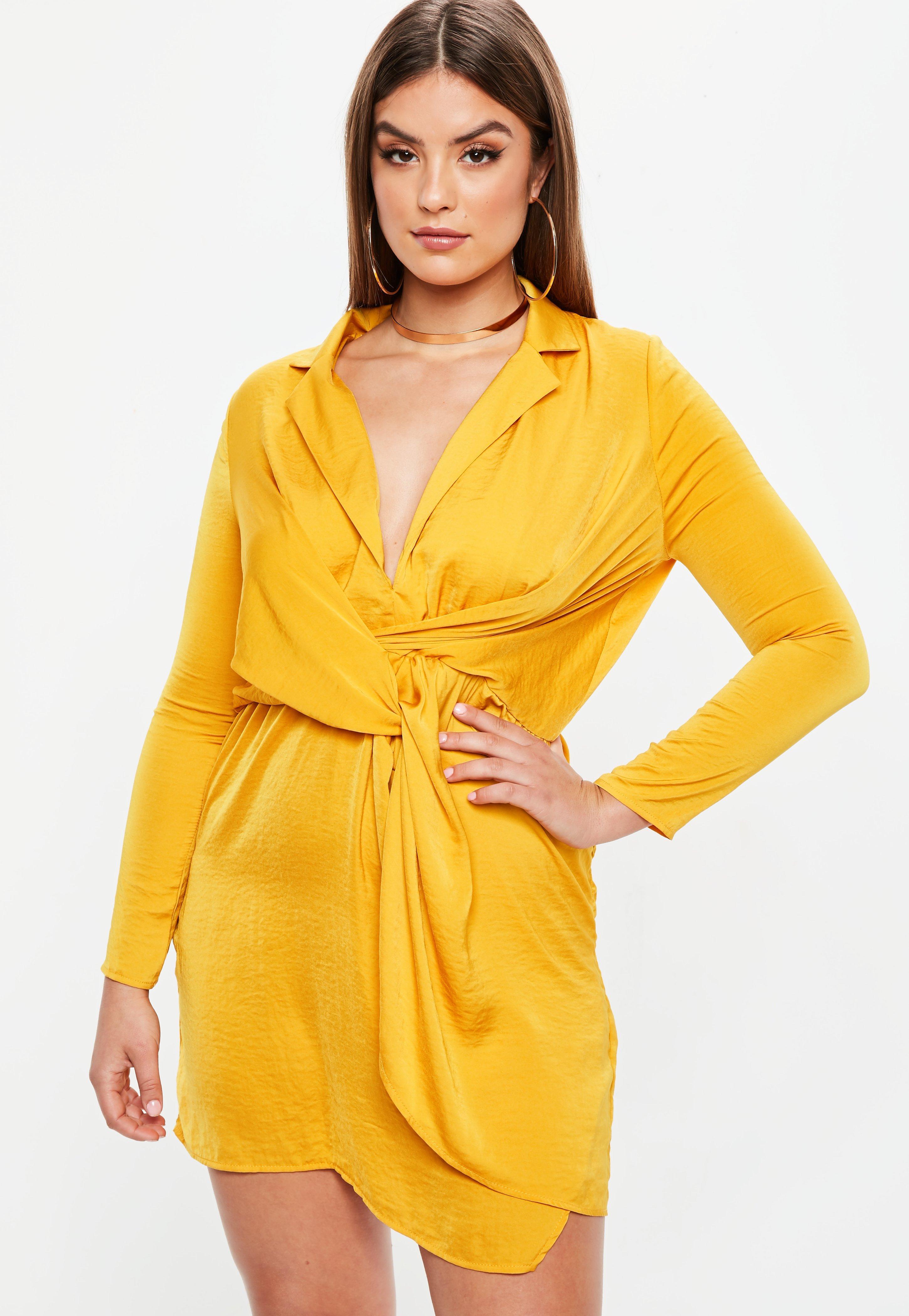 Curve Mustard Yellow Satin Twist Dress