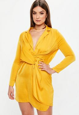 Vestido talla grande anudado de satén en amarillo mostaza