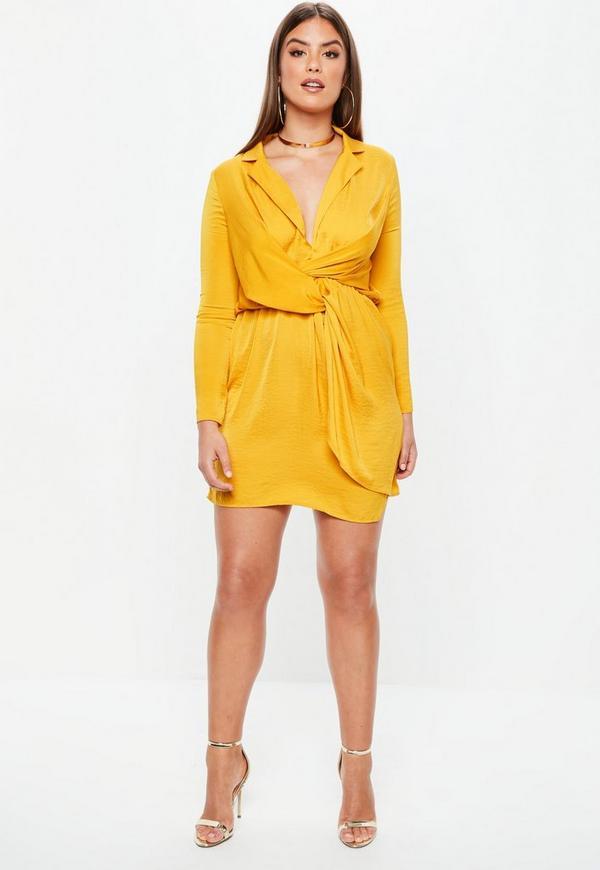 Plus Size Mustard Yellow Satin Twist Dress Missguided