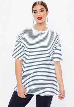 Plus Size Biały T-shirt w paski