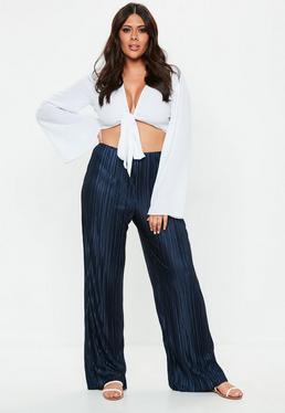 Plus Size Granatowe plisowane spodnie