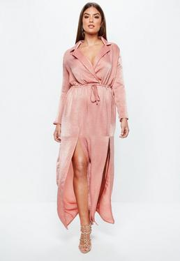 Plus Size Różowa satynowa sukienka maxi