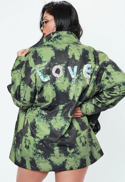 Curve Khaki Love Embellished Slogan Trucker Jacket
