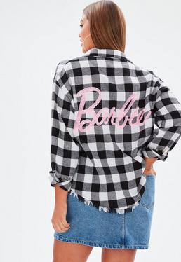 Barbie x Missguided Plus Size Czarno-biała koszula w kartę