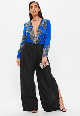 Curve Blue Scarf Print Jumpsuit