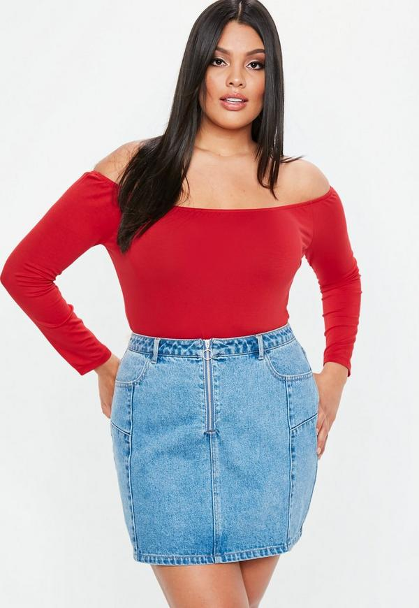Curve Red Long Sleeve Bardot Bodysuit by Missguided