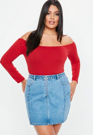 Plus Size Red Long Sleeve Bardot Bodysuit Missguided