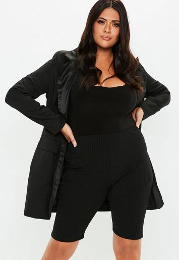 Plus Size Black Ribbed Cycling Shorts Missguided