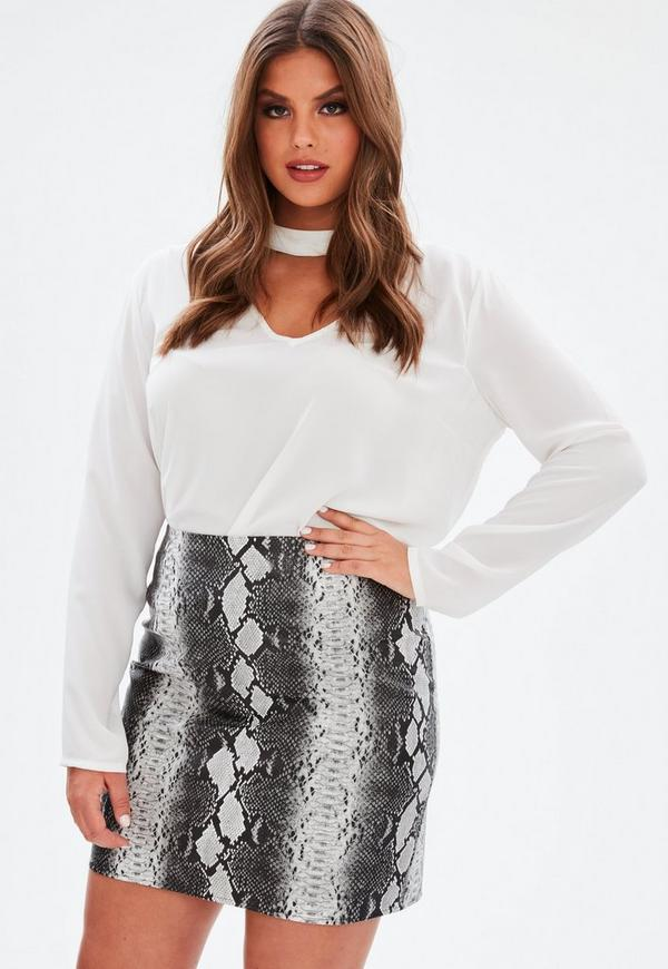 Shoptagr | Plus Size Grey Snake Print Faux Leather Skirt by ...