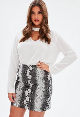 Curve Grey Snake Print Faux Leather Skirt