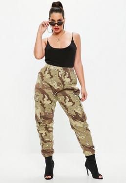 Curve Beige Camo Print Combat Trousers