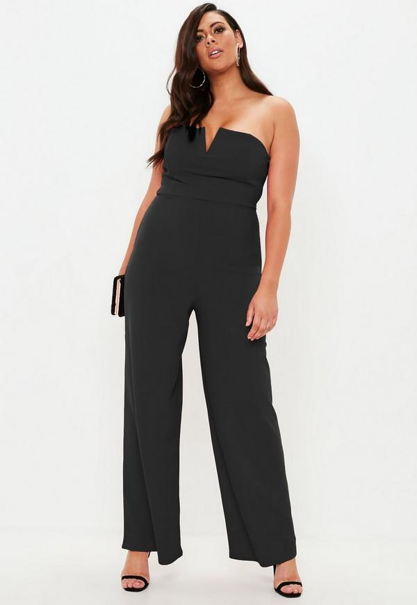9381ee2733e Plus Size Black V Bar Bandeau Wide Leg Jumpsuit
