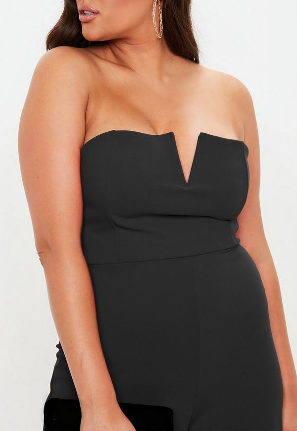 5bbc2f8b5a3 Plus Size Black V Bar Bandeau Wide Leg Jumpsuit. Previous Next
