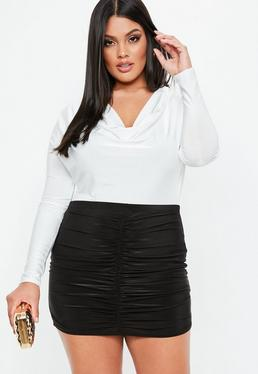 Curve White Cowl Neck Long Sleeve Bodysuit