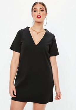 Plus Size Czarna luźna sukienka mini