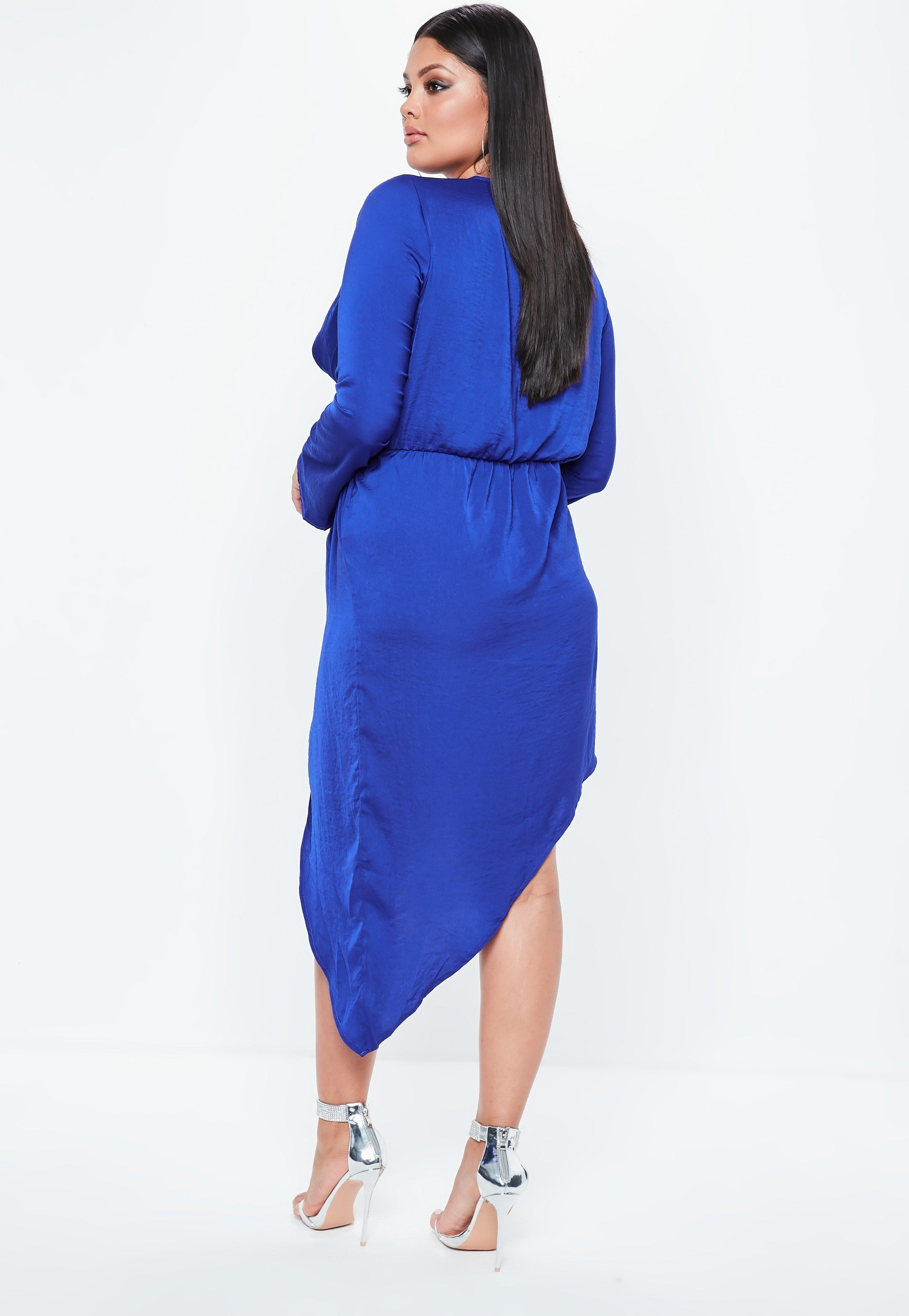 Missguided Curve Hammered Satin Asymmetric Dress Big Discount Online tF15d