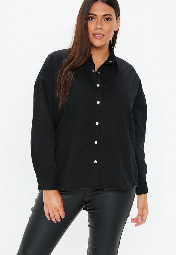 99868eb588d Plus Size Black Oversized Denim Shirt