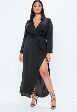 Plus Size Black Satin Thigh Split Wrap Maxi Dress
