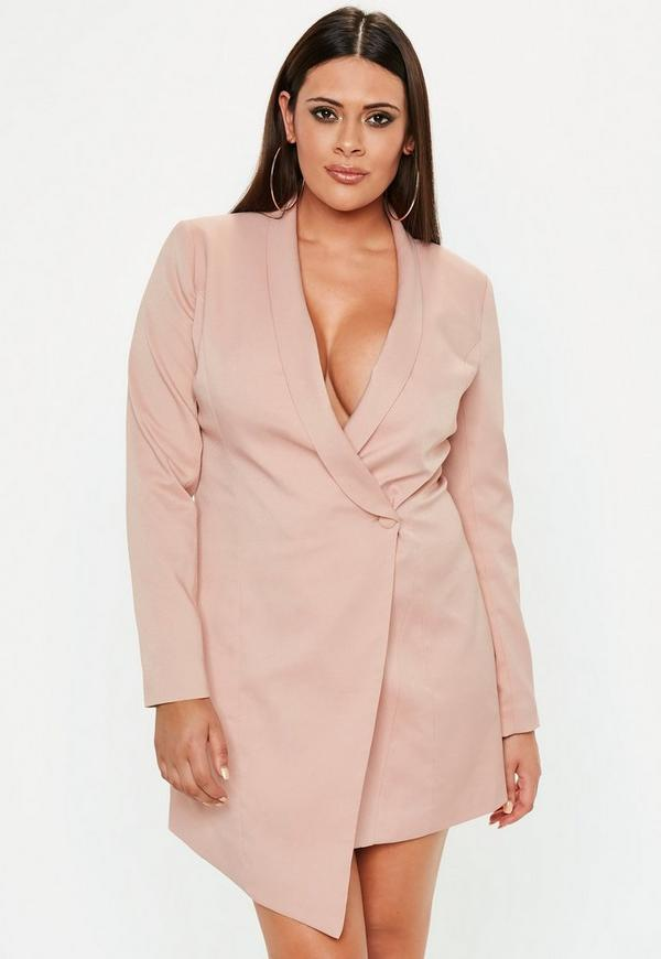 Plus Size Pink Blazer Dress Missguided