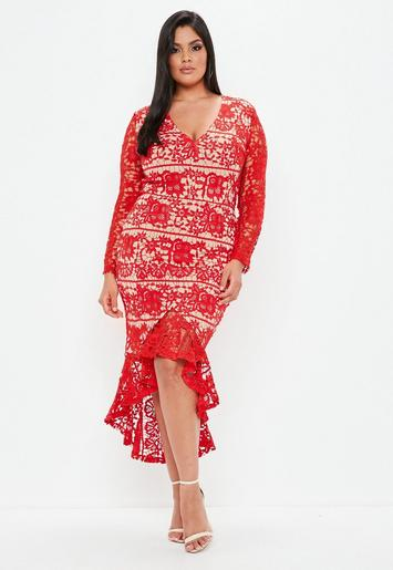 Plus Size Red Casual Dresses
